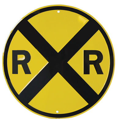 Railroad Crossing Metal Sign Decor