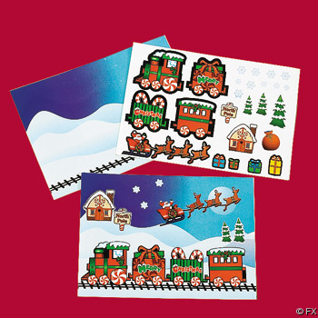 Make-A-Christmas Train Sticker Sheets (24 sheets)