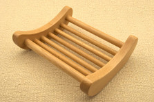 Curved Dowel Beech Wood Soap Dish