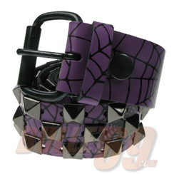 Purple embossed leather belt with web and black studs