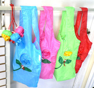 12PC Reusable Shopping Bag Folds in Strawberry w/ Flower Design & Draw String