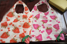 12PC Reusable Shopping Bag Folds in Strawberry w/ Strawberry Print & Draw String