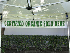 Banner  Certified Organic Sold Here Banner - Special Custom Order Call for Price