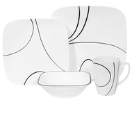 Corelle Simple Lines 16pc Square Dinner Set