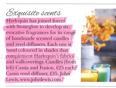 Harlequin Scented Candles in Period Homes magazine