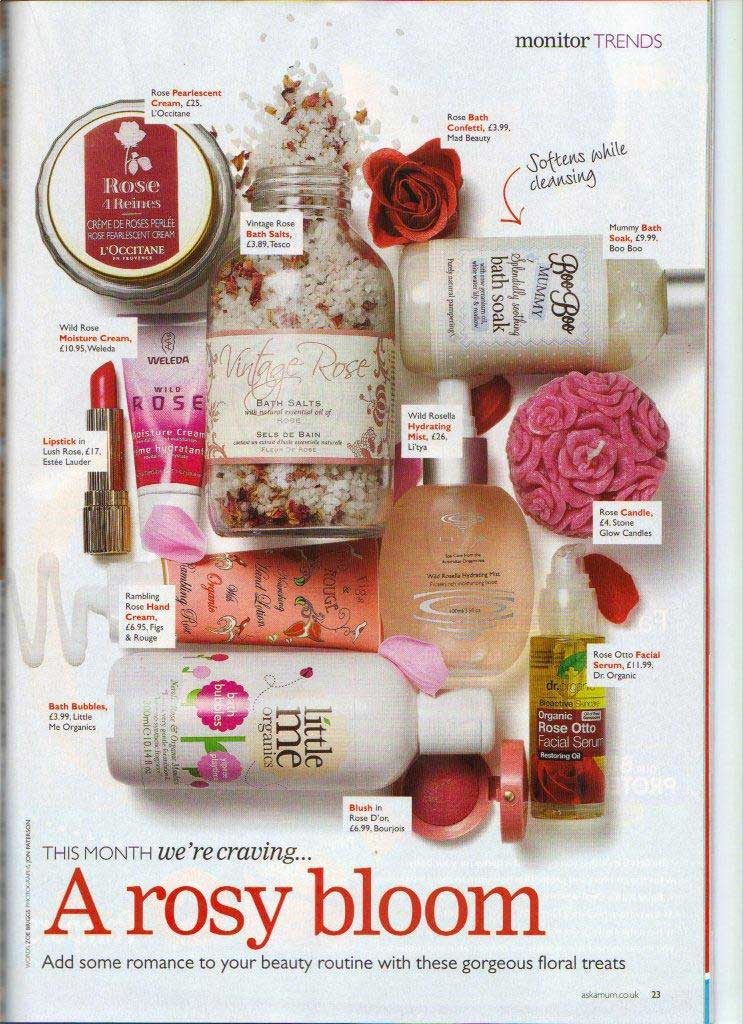 Pregnancy and Birth Magazine Feb 2011 feature our Rose candle