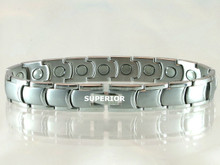 """Magnetic Bracelet Rhodium Curve S 15/32"""" wide x 13/32"""" long link with 19 rare earth magnets in 9 1/8"""" length. It has a magnetic therapy pull strength of 650 grams."""