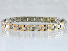 """Magnetic bracelet Riviera SG stainless steel with 18-5000 gauss magnets in an 8"""" length.  It has a magnetic therapy pull strength of 700 grams."""