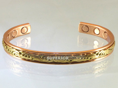 Copper Magnetic Bracelet with woven brass wire that looks like embroidery. This is a very popular copper bracelet for women