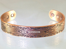 Our Navajo copper magnetic bracelet is one of our most popular mens copper bracelets. It is embossed with a pattern found woven into Navajo rugs.