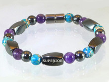 Magnetic bracelet with triple strength Hematite, Amethyst & Imperial Jasper