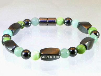 Magnetic bracelet with triple strength magnetic Hematite, Aventurine & Chrysoprase