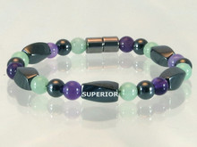 Magnetic Bracelet with triple strength Hematite combined with Amethyst & Aventurine