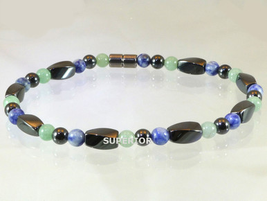 Magnetic Anklet made with triple strength hematite magnets, Aventurine and Sodalite
