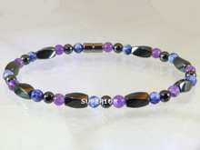 This magnetic ankle bracelet is made with triple strength magnetic hematite, Amethyst & Sodalite. Hematite is