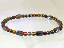 Magnetic ankle bracelet made with triple strength hematite, Red & Yellow Tiger Eye
