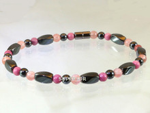 Magnetic Anklet made with triple strength hematite, Rhodonite & Rose Quartz