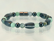 Magnetic Bracelet with triple strength magnetic Hematite, Aventurine & Moss Quartz