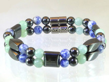 Magnetic bracelet made with a double row of triple strength magnetic Hematite, Aventurine and Sodalite