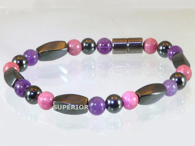 Magnetic bracelet with triple strength magnetic Hematite, Amethyst & Rhodonite