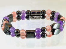 Magnetic Bracelet made with a double row of triple strength hematite, Amethyst and Rose Quartz