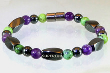 Magnetic bracelet made with triple strength magnetic Hematite, Amethyst & Chrysoprase
