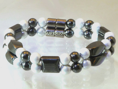 Magnetic bracelet made with triple strength magnetic pearlized and black hematite