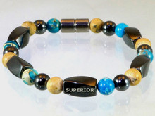 Magnetic bracelet made with triple strength magnetic Hematite combined with Turquoise Impression Jasper and Picture Jasper