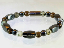 Magnetic Bracelet made with triple strength magnetic Hematite combined with Moss Quartz and Smokey Quartz gemstones