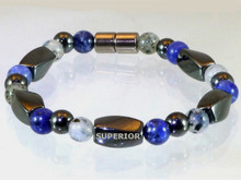 Magnetic bracelet made with triple strength magnetic Hematite combined with Moss Quartz and Sodalite gemstones