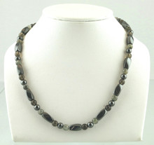 Magnetic necklace made with triple strength magnetic Hematite combined with Moss Quartz and Smokey Quartz gemstones