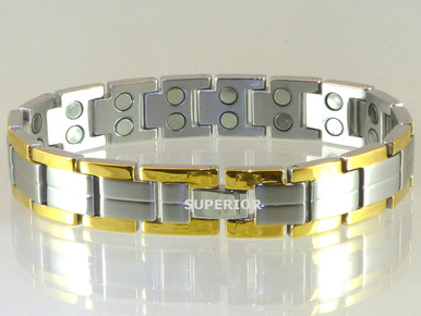 """Magnetic bracelet Centerline SG stainless steel with 32-5200 gauss magnets in an 8 3/4"""" length. It has a magnetic therapy pull strength of 1000 grams."""