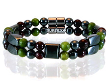 Magnetic bracelet made with triple strength magnetic Hematite combined with the gemstones Garnet and Jade