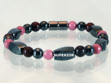 Magnetic bracelet made with triple strength magnetic Hematite combined with gemstones Garnet and Rhodonite
