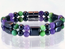 Magnetic bracelet made with a double row of triple strength magnetic Hematite, Amethyst & Chrysoprase Double
