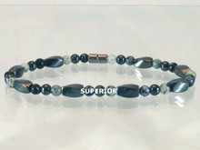 Magnetic Ankle Bracelet made with triple strength magnetic hematite, Moss Quartz & Snowflake Obsidian