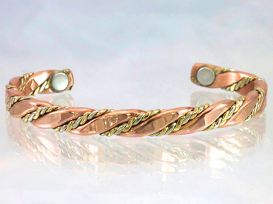 The Caduceus copper bracelet traces down to the intertwined copper serpents Moses held over his tribe to protect them while crossing the desert.