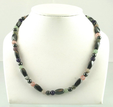 Magnetic necklace made with triple strength magnetic hematite combined with Amethyst, Aventurine, Fluorite, Rose Quartz and Tourmaline gemstones for fibromyalgia