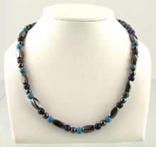 Magnetic necklace made with triple strength magnetic Hematite combined with Amethyst and Turquoise Impression Jasper gemstones