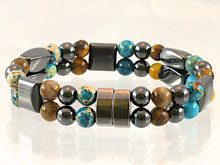 Magnetic bracelet made with triple strength magnetic Hematite combined with gemstones Turquoise Impression Jasper and Yellow Tiger Eye