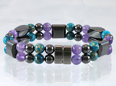 Magnetic bracelet made with a double row of triple strength magnetic Hematite, Amethyst & Impression Jasper Double