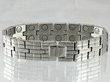 "Magnetic Bracelet Rio S stainless steel with 22/32"" wide x 3/8"" long link with 32 rare earth magnets in 8 5/8"" length. It has a rating of 166,400"