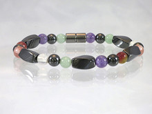 Magnetic Bracelet made with triple strength hematite combine with the healing gemstones Amethyst, Aventurine, Fluorite, Rose Quartz and Tourmaline for Fibromyalgia