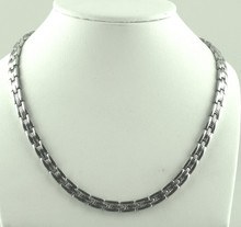 "Magnetic necklace Wimbledon SG stainless steel has a 1/4"" wide x 11/32"" long link with 60 rare earth magnets in 22"" length. It has a rating of 300,000"
