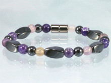 Magnetic Bracelet made with triple strength magnetic Hematite combined with Amethyst and Fluorite