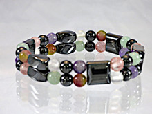 Double Magnetic Bracelet made with triple strength hematite combine with the healing gemstones Amethyst, Aventurine, Fluorite, Rose Quartz and Tourmaline for Fibromyalgia