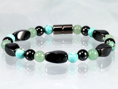 Magnetic Bracelet made with triple strength magnetic Hematite combined with Aventurine & Turquoise
