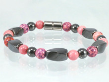 Magnetic Bracelet made with triple strength magnetic Hematite combined with Impression Jasper(Fuchsia) & Rhodonite