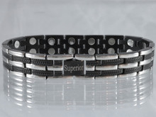 "Magnetic bracelet Long Island Silver and Black stainless steel has a 33/64"" wide x 15/32"" long link with 32 rare earth magnets in 8 5/8"" length. It has a rating of 166,400"