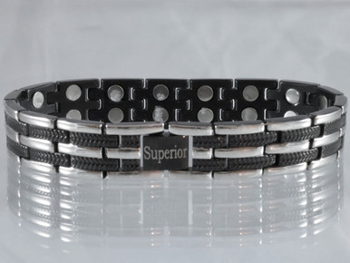 "Magnetic bracelet Long Island Silver and Black stainless steel has a 33/64"" wide x 15/32"" long link with 32 rare earth magnets in 8 5/8"" length. It has a magnetic therapy pull strength of 1000 grams."